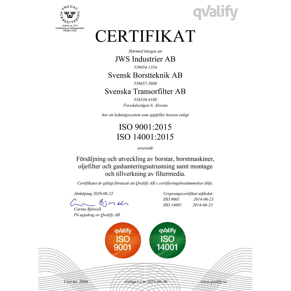 Certifikat Nr 2004 ISO 9001 och 14001 Svensk Borstteknik AB